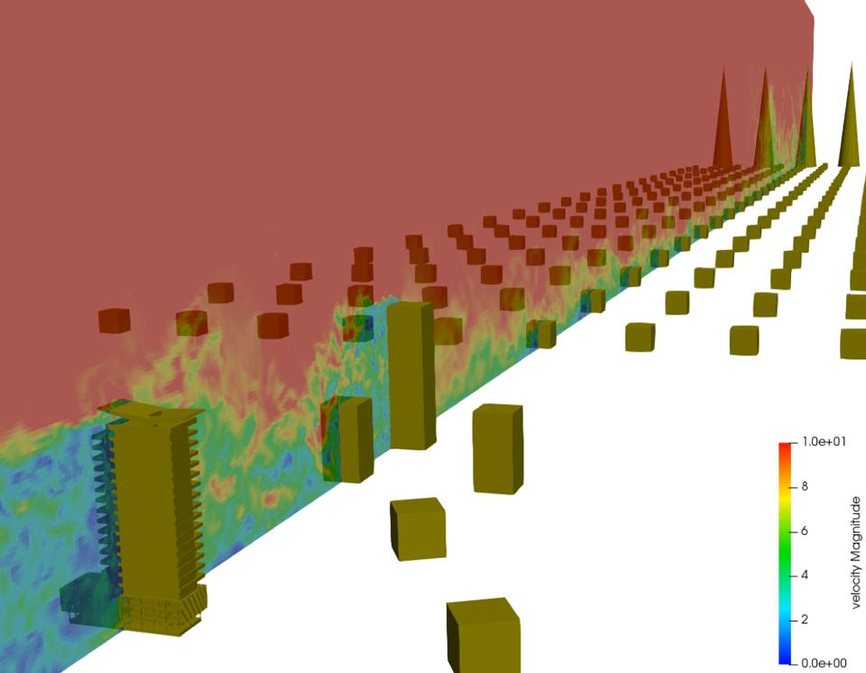 バルコニーを有する中層ビルの風洞実験を模したultraFluidXによる解析結果