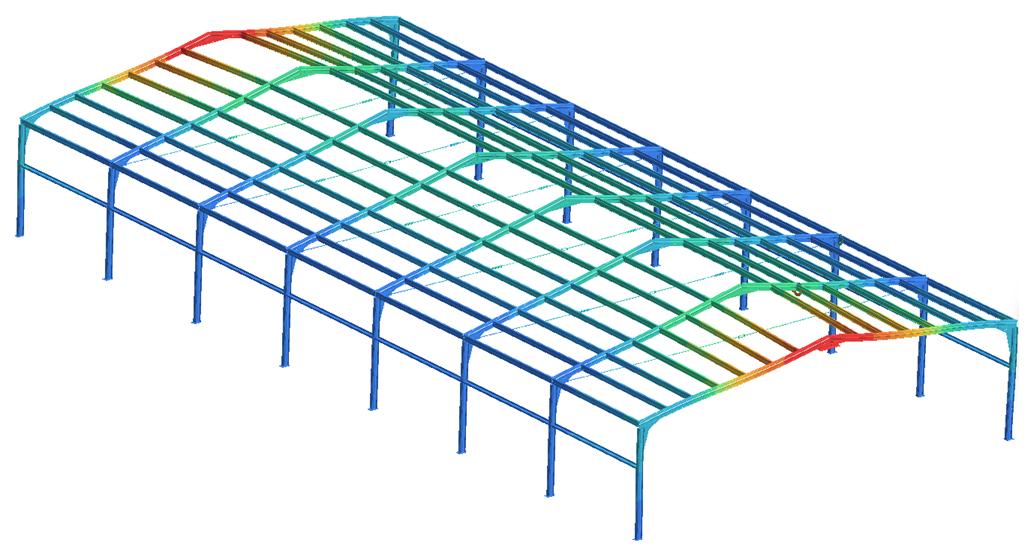 屋根の鋼材3次元モデル構造解析例